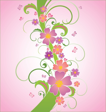 flower border pink: Abstract floral background, vector