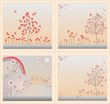 Set of abstract background with tree Vector