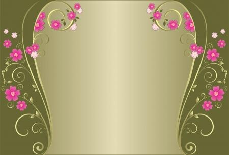 ornate swirls: Vintage floral green background
