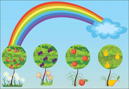Seasonal tree with rainbow. See my gallery for more Vector