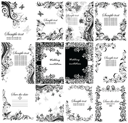 Vintage greeting floral templates