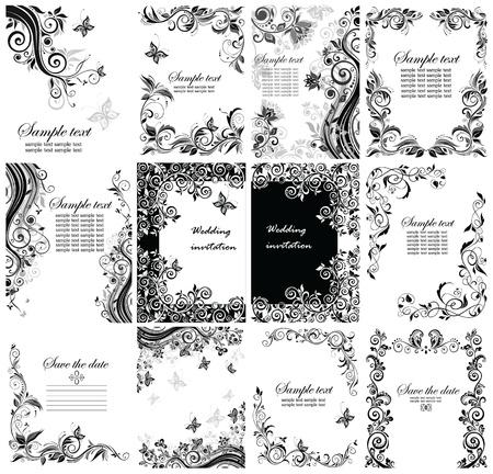 Vintage greeting floral templates