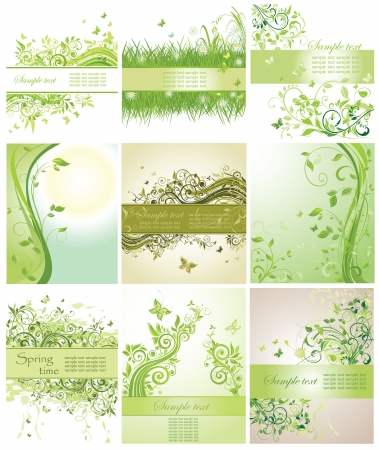 Set of green floral poster