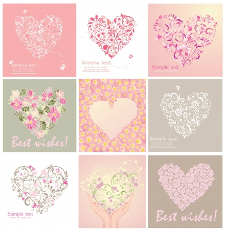 birthday flowers: Greeting cards with heart shape