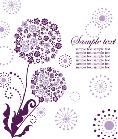 dandelion flower: Abstract violet card with dandelion Illustration