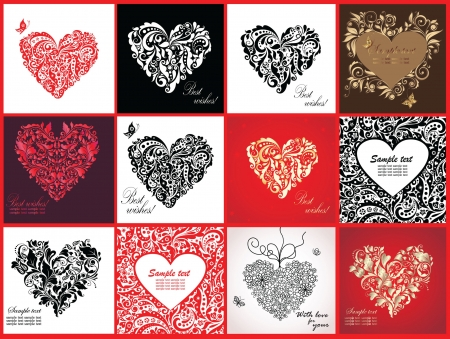 Cards with decorative hearts