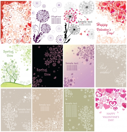 Vintage floral greeting vertical banners Vector