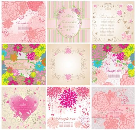グリーティング カードの花のセット  イラスト・ベクター素材