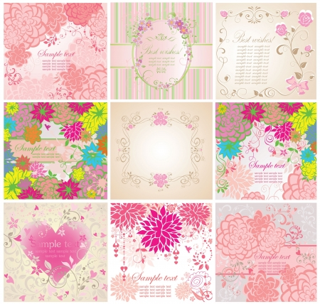 Set of greeting floral cards