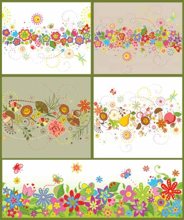 Funny seamless seasonal borders Vector