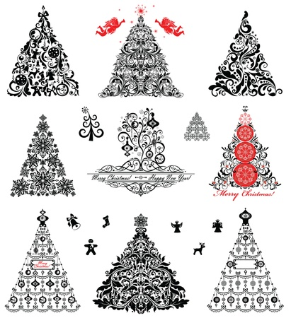 Set of vintage xmas trees Stock Vector - 19094444