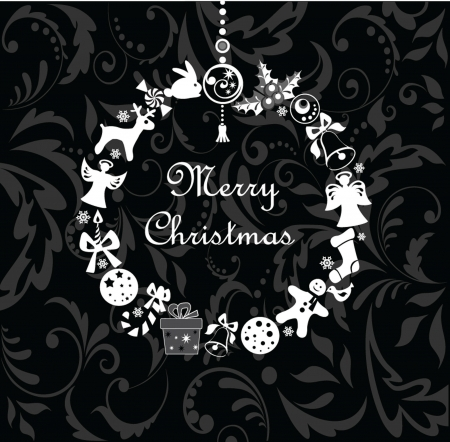 Xmas wreath (black and white) Stock Vector - 19094504
