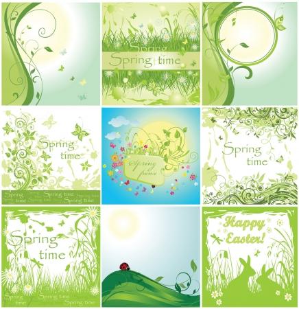 Spring green cards Vector