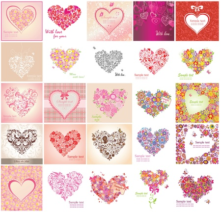 Greeting card with floral heart shapes Vectores