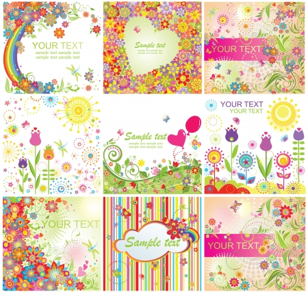 Summery colorful cards Vector