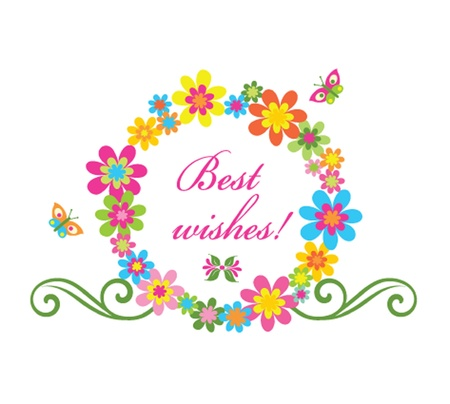 best wishes: Greeting flower wreath