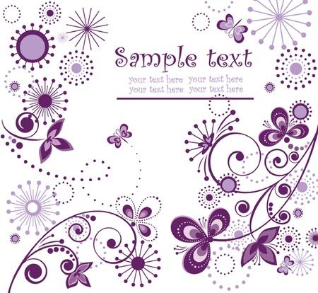 purple lilac: Greeting vintage violet card