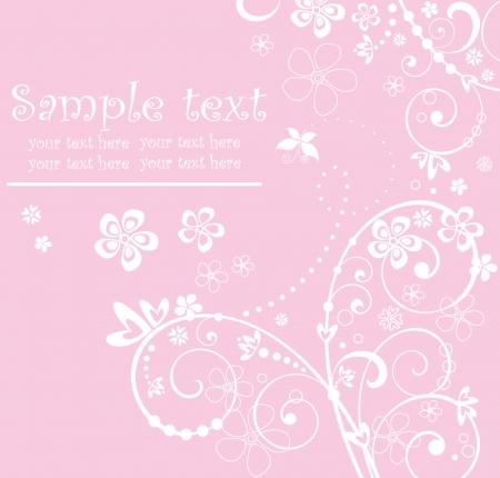 baby arrival: Pink arrival card Illustration
