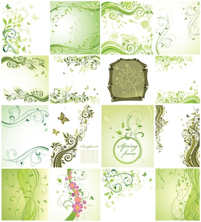 Green floral cards Vectores