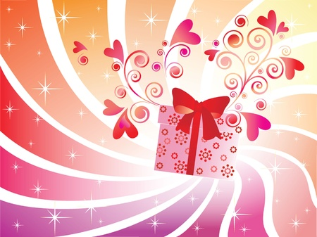 Valentine card with gift box Vector