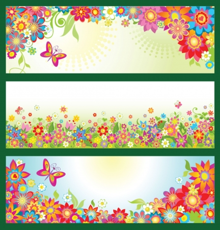Banners with summer flowers Stock Illustratie