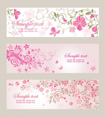 summer season: Beautiful floral banners Illustration