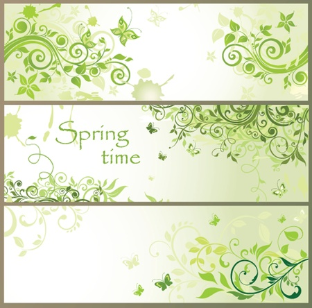 Green floral horizontal banners Vector