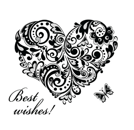 Greeting card with heart shape  black and white