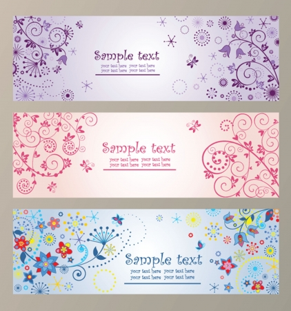 Set of horizontal greeting banners Vector