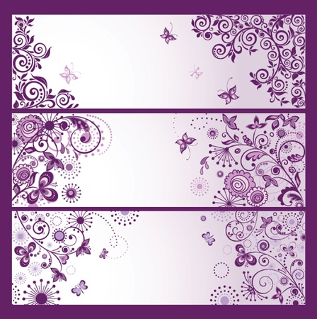 Set of horizontal violet floral greeting banners Vector