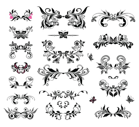 Vintage headers (black and white) Vector