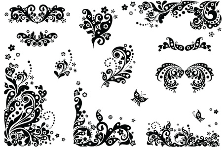 Vintage design elements (black and white) Illustration