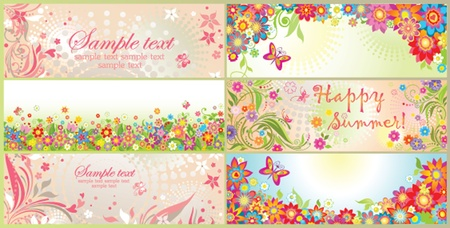 summery: Spring and summery horizontal banners Illustration