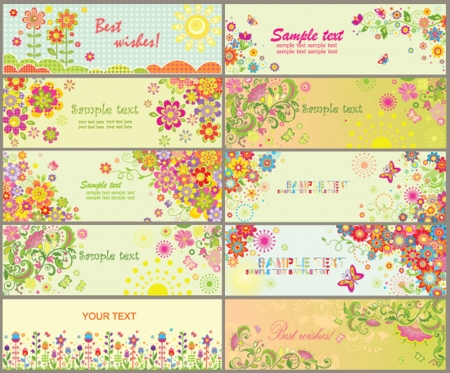 Set of greeting horizontal cards