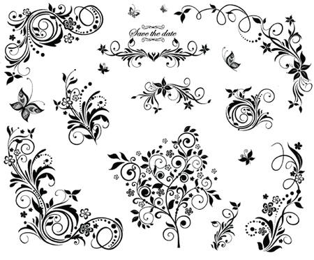 黒と白のヴィンテージの花のデザイン