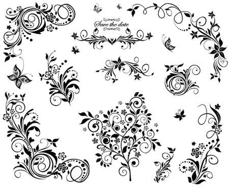 Black and white vintage floral design Vector