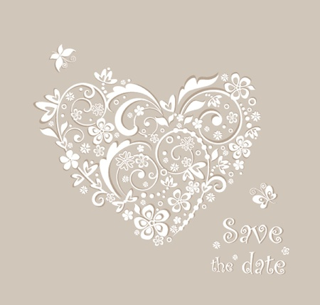 Beautiful greeting pastel card with floral heart shape