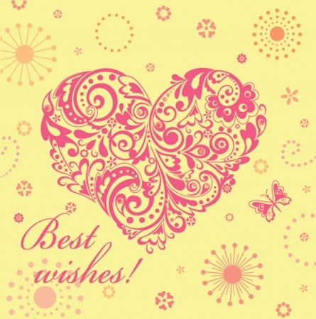 Cute greeting card with floral decorative heart Vector