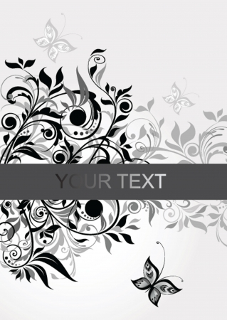 Decorative floral banner (black and white)