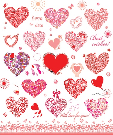 heart shape hands: Set of cute red and pink hearts