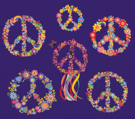 Set of Peace flower symbol Vector