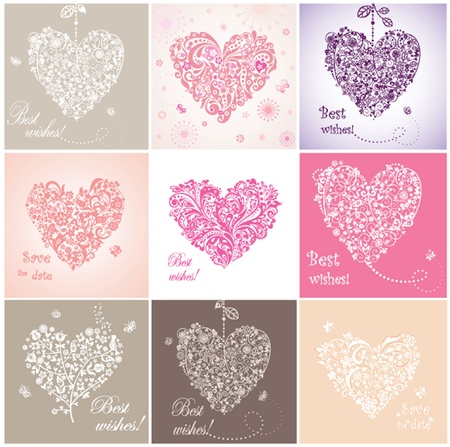 hanging girl: Beautiful greeting cards with hearts