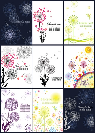 dandelion seed: Abstract banners with dandelions
