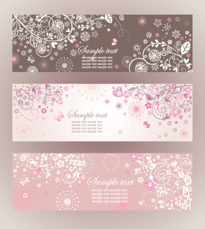 baby announcement: Beautiful floral horizontal banners