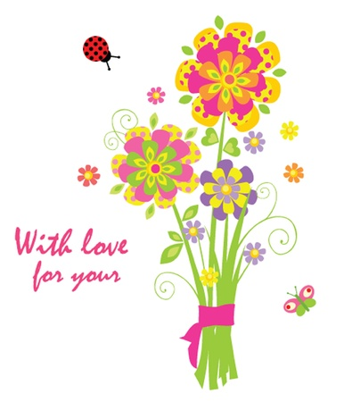 Cartoon with greeting bouquet Vector