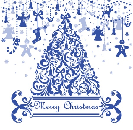 Greeting card with blue christmas tree Vector