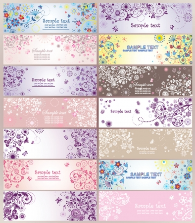 date of birth: Set of horizontal greeting banners
