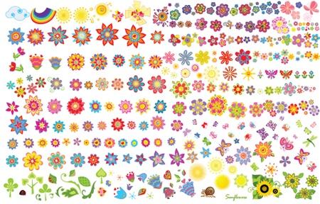 Summer flowers, sun and butterflies Vector