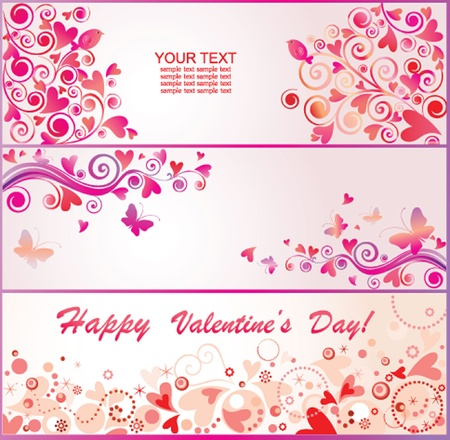 pink butterfly: Valentines banners