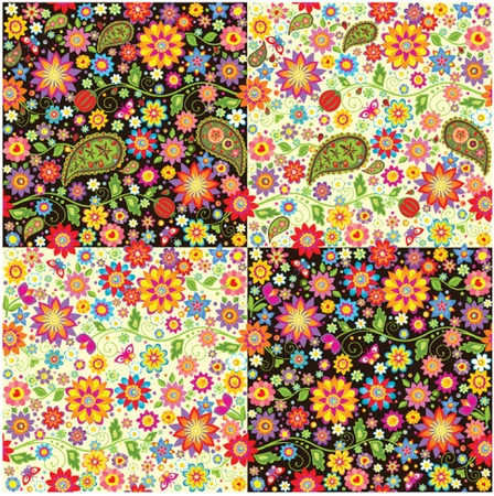 Wallpapers with paisley and summer flowers Vector